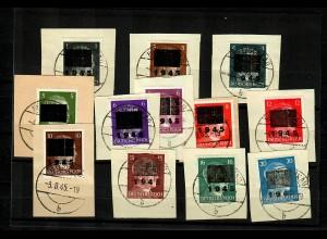Netzschkau: MiNr., 1-11, Type II, gestempelt auf Briefstücken