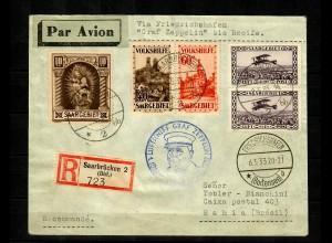 Volkshilfe Saar, 3x Einschreiben Saarbrücken, Graf Zeppelin bis Recif nach Bahia