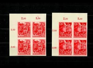 DR: MiNr. 909-910U, Eckrand Viererblock VE1, Plattenfehler 910I, postfrisch, **
