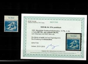 DDR: MiNr. 273c, vom Oberrand, postfrisch