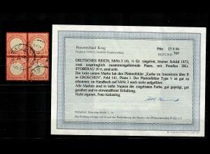 DR: MiNr. 3 (4x) mit 1x Plattenfehler Type V, gestempelt Stoberau, BPP Befund