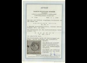 DR: MiNr. 8, gestempelt Bretten, auf Briefstück, BPP Attest