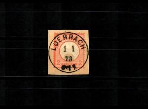 DR: MiNr. 8, gestempelt Loerrach 1.1.1873, Briefstück Luxus