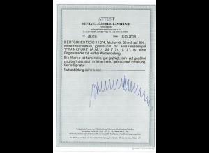 DR: MiNr. 30, gestempelt Frankfurt, BPP Attest