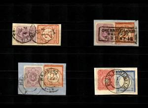 DR: MiNr. 29/32 (3x), 20, 33 auf Briefstücken, MiF, 1x BPP geprüft