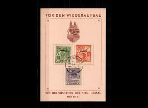 SBZ: Wiederaufbau Dessau, MiNr. IAK-III AK, Gedenkblatt