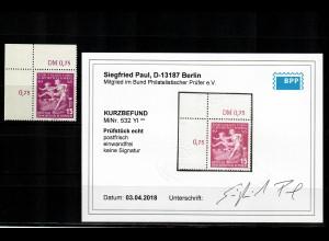 DDR MiNr. 532 YI , Eckrand E1, postfrisch, **, BPP Befund