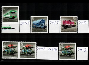 DDR MiNr. 2414-17 I-III, alle mit Plattenfehler, postfrisch, **