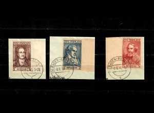 Franz. Zone MiNr. 11-13, auf Briefausschnitt gestempelt, BPP Signatur