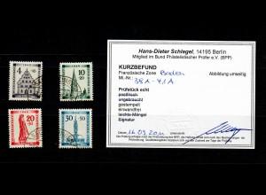 Franz. Zone Baden: MiNr. 38A - 41A, gestempelt, BPP Befund
