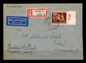 DR: MiNr. 865 FDC - Ersttag, Luftpost, Einschreiben Breslau nach Prag