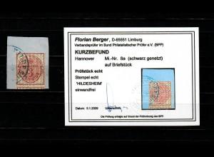 Hannover: MiNr. 8a, schwarz genetzt, gestempelt Hildesheim, BPP Befund
