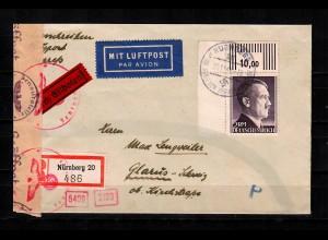 DR: MiNr. 800A, Eckrand auf Lufpost R-Eil Brief von Nürnberg nach Glarus/Schweiz