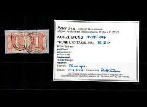 Thurn & Taxis: MiNr. 38, waagrechtes Paar, gestempelt, BPP Befund