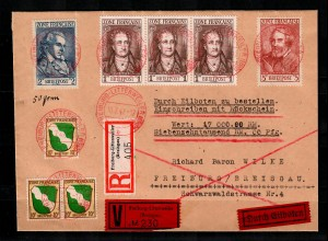 Franz. Zone: MiNr. 5+11-13 auf Wert-R-Eil Brief von Freiburg-Littenweiler 1947