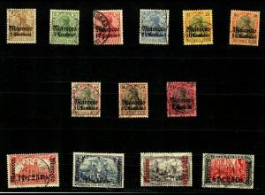 Dt. Post Marokko: MiNr. 21-33, gestempelt