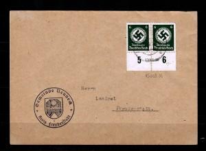 DR Dienst: MiNr. 135 HAN, auf Brief von der Gemeinde Neuneck nach Freudenstadt