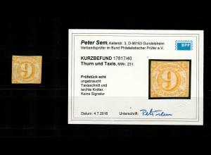 Thurn & Taxis: MiNr. 23 I, ungebraucht, BPP Befund