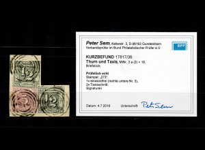 Thurn & Taxis: MiNr. 3a und 18, gestempelt 273, BPP Befund