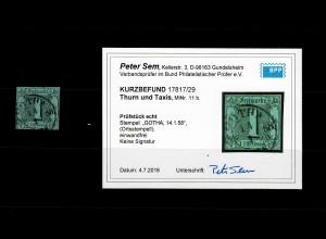 Thurn & Taxis: MiNr. 11b, gestempelt Gotha, BPP Befund