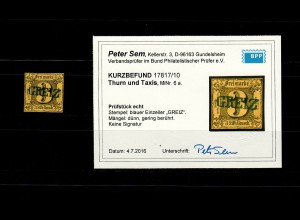 Thurn & Taxis: MiNr. 6a, gestempelt Greiz, BPP Befund