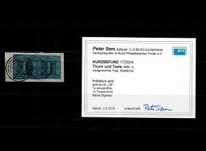 Thurn & Taxis: MiNr. 4, im waagrechten Paar, Briefstück, gest.Nr. 29, BPP Befund
