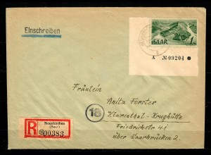 MiNr. 225, Eckrand auf R-Brief Neunkirchen nach Klarenthal-Krughütte, BPP Befund