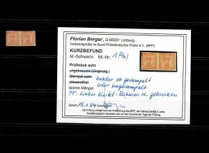 Mecklenburg-Schwerin: MiNr. 1, unklar ob gestempelt, Plattenfehler, BPP Befund