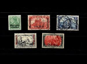 Dt. Post Marokko: MiNr. 8-19II, gestempelt, Höchstwert mit BPP Signatur