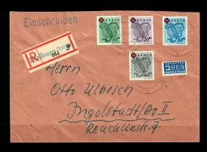 Baden: Einschreiben Freiburg 1949, MiNr. 42-45A nach Ingolstadt
