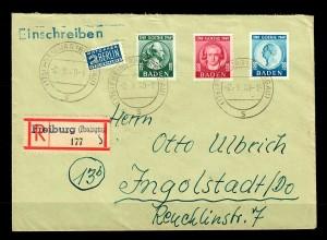 Baden: Einschreiben Freiburg 1949, MiNr. 47-49 nach Ingolstadt