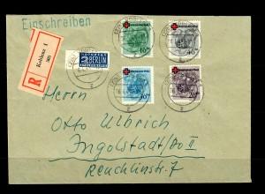 Rheinland-Pfalz: Einschreiben Koblenz 1949, MiNr. 42-45A nach Ingolstadt