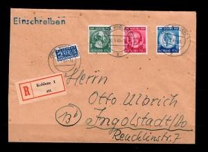 Rheinland-Pfalz: Einschreiben Koblenz 1949, MiNr. 47-49 nach Ingolstadt