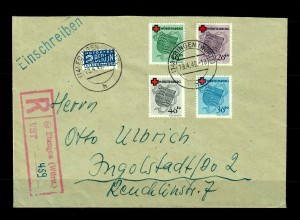 Württemberg: Einschreiben Ebingen 1949, MiNr. 40-43A nach Ingolstadt