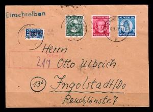 Württemberg: Einschreiben Ebingen 1949, MiNr. 44-46 nach Ingolstadt