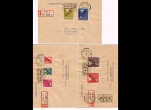 7x Einschreibebriefe Berlin 1948, Luftbrücke Werbung, MiNr. 1-20 nach Karlsruhe