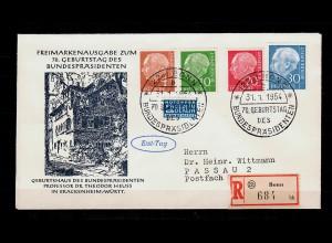 FDC Einschreiben MiNr.178,183,185,187, 70. Geburtstag Heuss von Bonn nach Passau