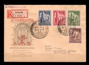 Berlin: MiNr. 106-109, FDC auf Einschreibebrief Berlin nach Ingolstadt