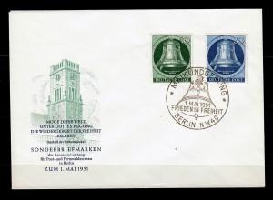 Berlin: MiNr. 76 + 78, FDC: Maikundgebung, Frieden in Freiheit Frankfurt 1951