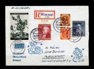 Bund: MiNr. 158/59 mit S1 auf R-Brief Himmel/Christkind mit Vignette A. Dürer