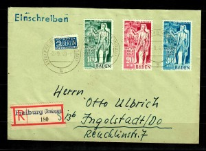 Baden: 3xEinschreiben Freiburg, und Postkarte mit MiNr. 50-57