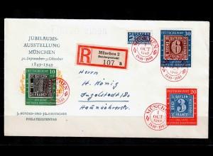 Bund: Einschreiben Satzbrief MiNr. 113-115, roter Stempel München 1949