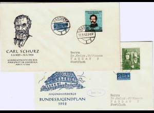 Bund: FDC MiNr. 153-155, Bundesjugendplan, Schurz