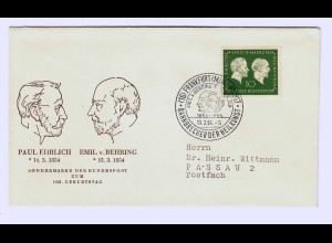 Bund: MiNr. 197-199 auf 3x FDC, Behring, Gutenberg, Bonifatius