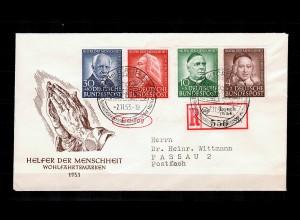 Bund: MiNr. 173-176, Einschreiben Helfer der Menschheit 1953 als FDC