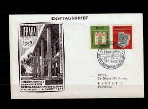 Bund: MiNr. 171-172, FDC Frankfurt, IFRABA 1953