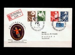 Bund: MiNr. 167-170, FDC Deutsche Verkehrsaustellung 1953, München Einschreiben