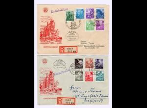 DDR: MiNr. 362-379, auf 4 FDC Briefen, 3x als Einschreiben Berlin 1953