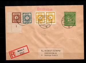 Lokalausgabe Meißen: MiNr. 35B, Unterrand auf R-Brief nach Dresden, BPP Signatur