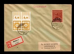 Lokalausgabe Meißen: MiNr. 38B, auf R-Brief nach Dresden, BPP Signatur